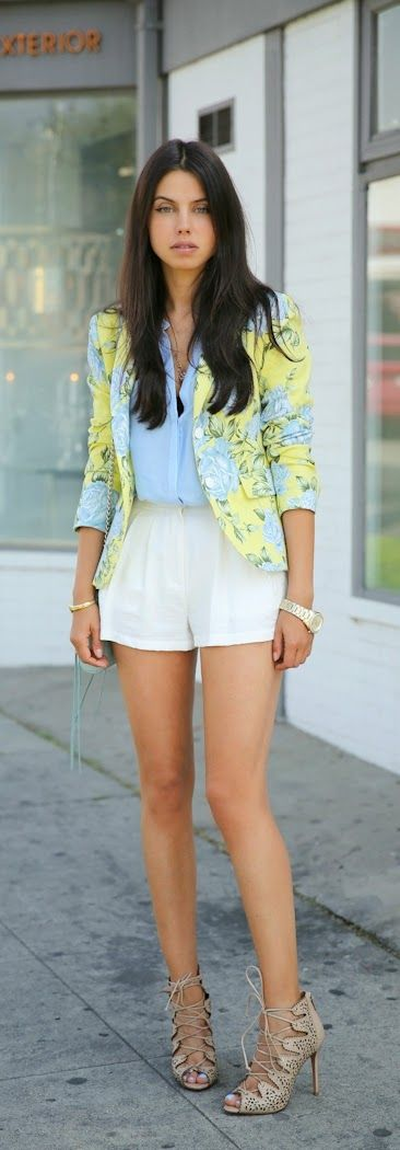 Floral Printed Blazer with Cameo Waterfall Short a...