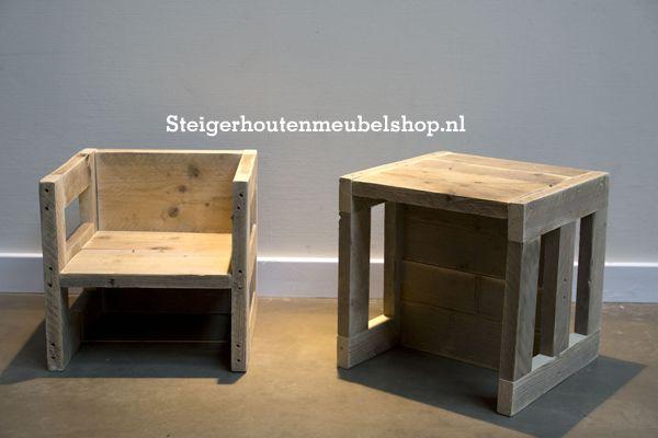 """Steigerhouten stoel en tafel """"Multi"""" - Steigerhoutenmeubelshop.nl"""
