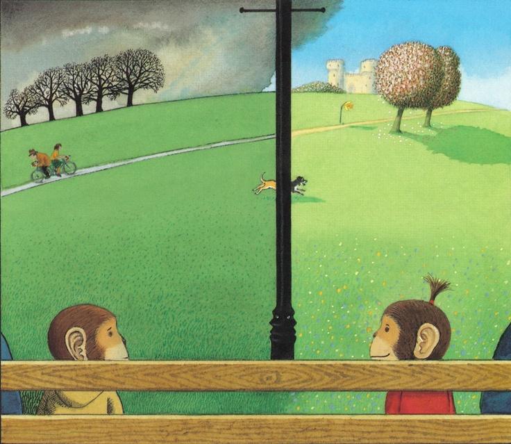 Voces en el parque. Anthony Browne. Fondo de Cultura Económica. Un niño, una niña, un padre, una madre, dos perros, dos barrios diferentes