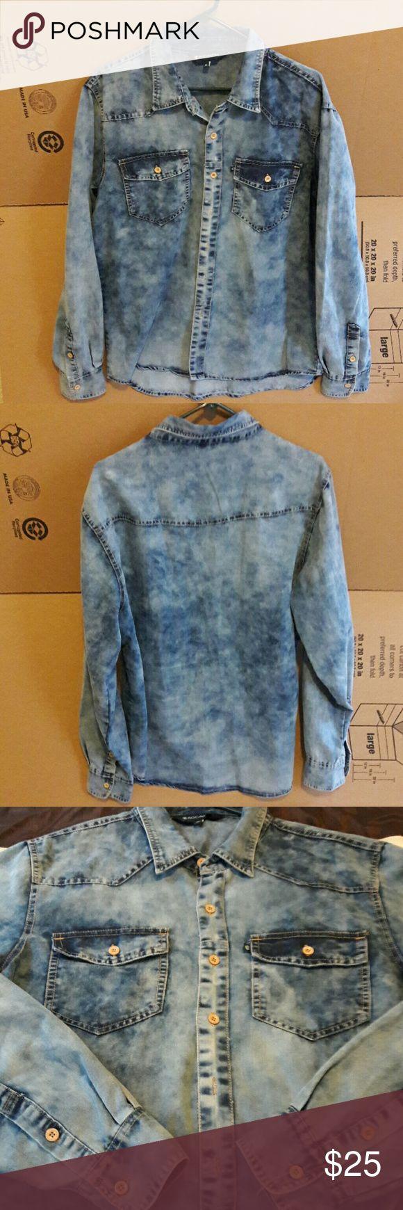 Stonewash Denim Button down Rocawear shirt EUC, worn once. No flaws, no stains, no rips. Rocawear Shirts Casual Button Down Shirts