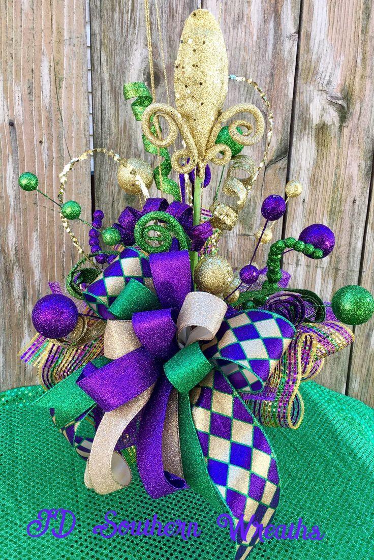 2019 Mardi Gras Centerpiece, Mardi Gras Decor, Mardi Gras Fleur De Lis Centerpiece, Carnival Decor, Mardi Gras Decorations