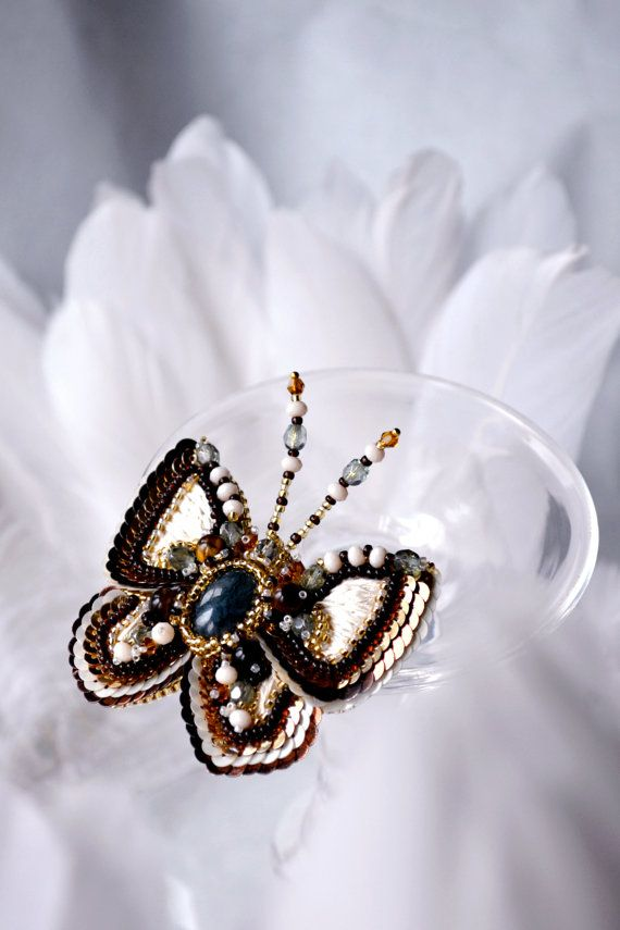 Brooch - Butterfly in bead embroidery with agate and tiger eye. There is also the Czech crystals, Czech glass beads and Toho seed beads,
