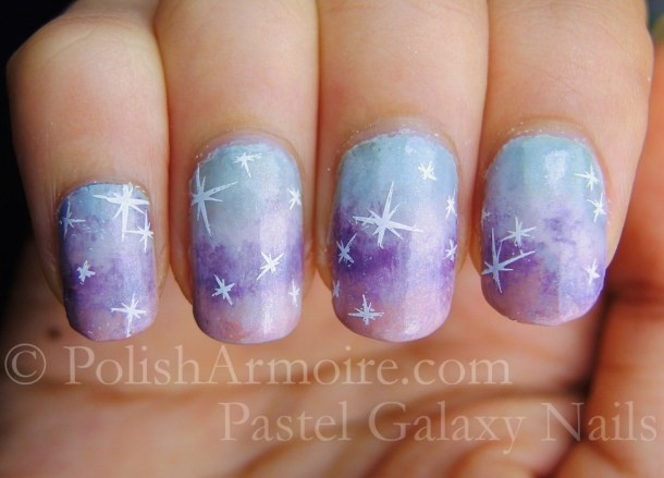 Pastel Galaxy Nails Stars stamped with Konad m14 plate