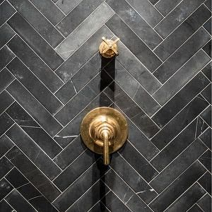 Slate Herringbone Tiles, Contemporary, bathroom, Jenny Wolf Interiors