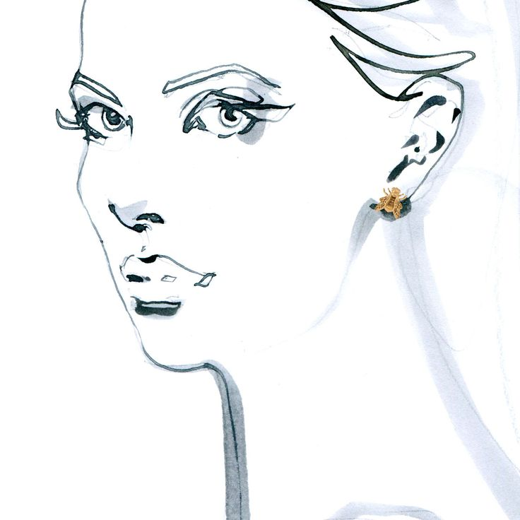 Earrings from APIS collection by Anna Orska. Illustrated by Anna Halarewicz.