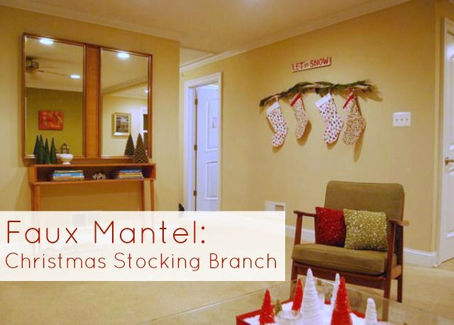 Christmas Stocking Branch On Wall For Renters With No Mantel