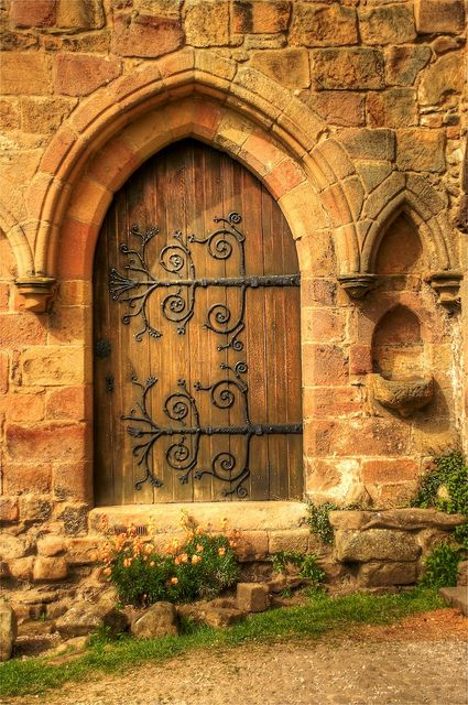 Old church door at Bolton Abbey, Yorkshire