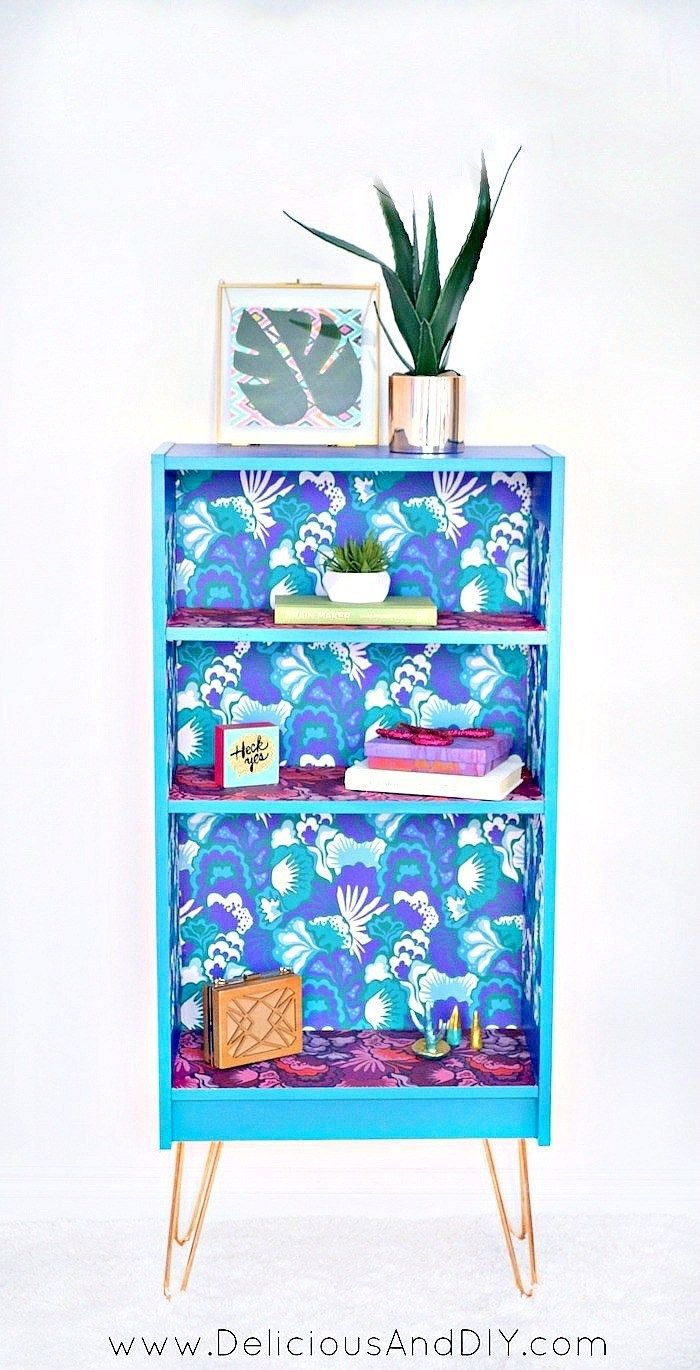 Upcycle A Bookshelf With Peel And Stick Wallpaper Delicious And Diy Bookshelf Makeover Bookshelves Diy Furniture Bookshelves