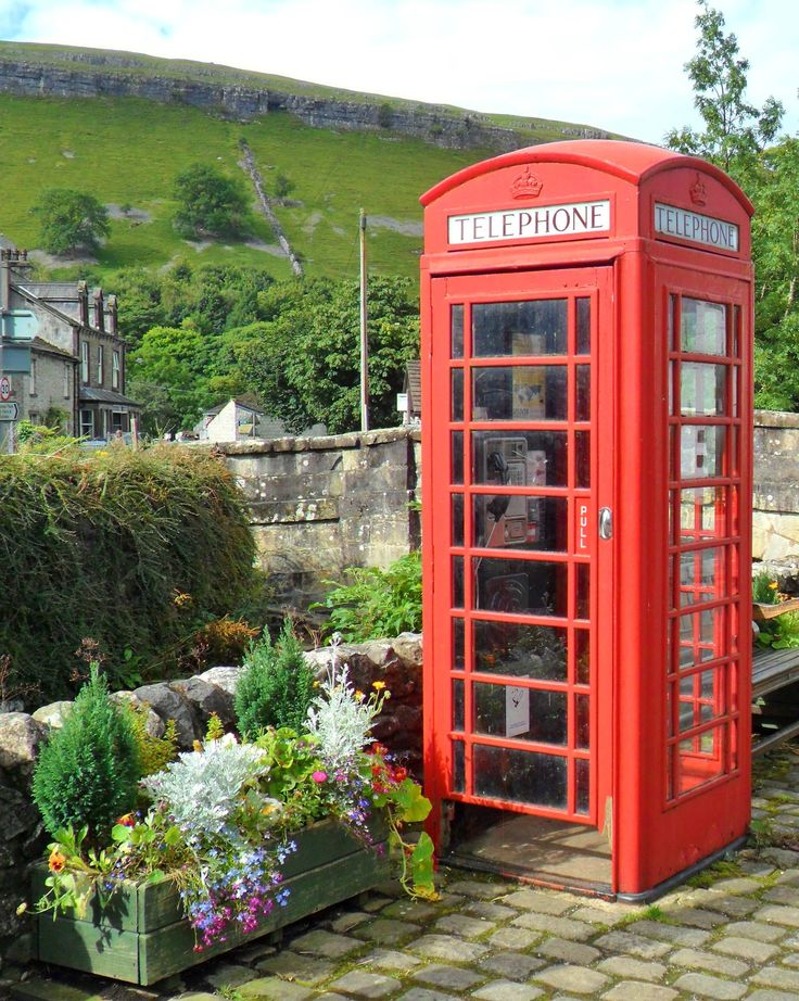 Red Telephone box and flowers, Kettlewell, Wharfedale, Yorkshire Dales, England. All Original Photography byhttp://vwcampervan-aldridge.tum...