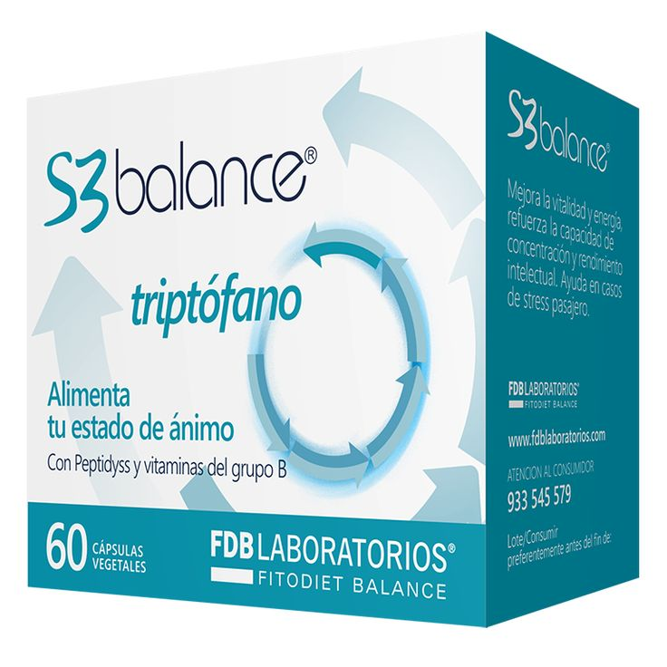 S3 Balance es un complemento alimenticio con  Peptidyss, Triptófano, Magnesio y vitaminas del Grupo B que ayuda a las personas a prevenir la astenia y gestionar épocas de decaimiento, apatía, ansiedad, intranquilidad o estrés. Presentación envase de 60 cápsulas