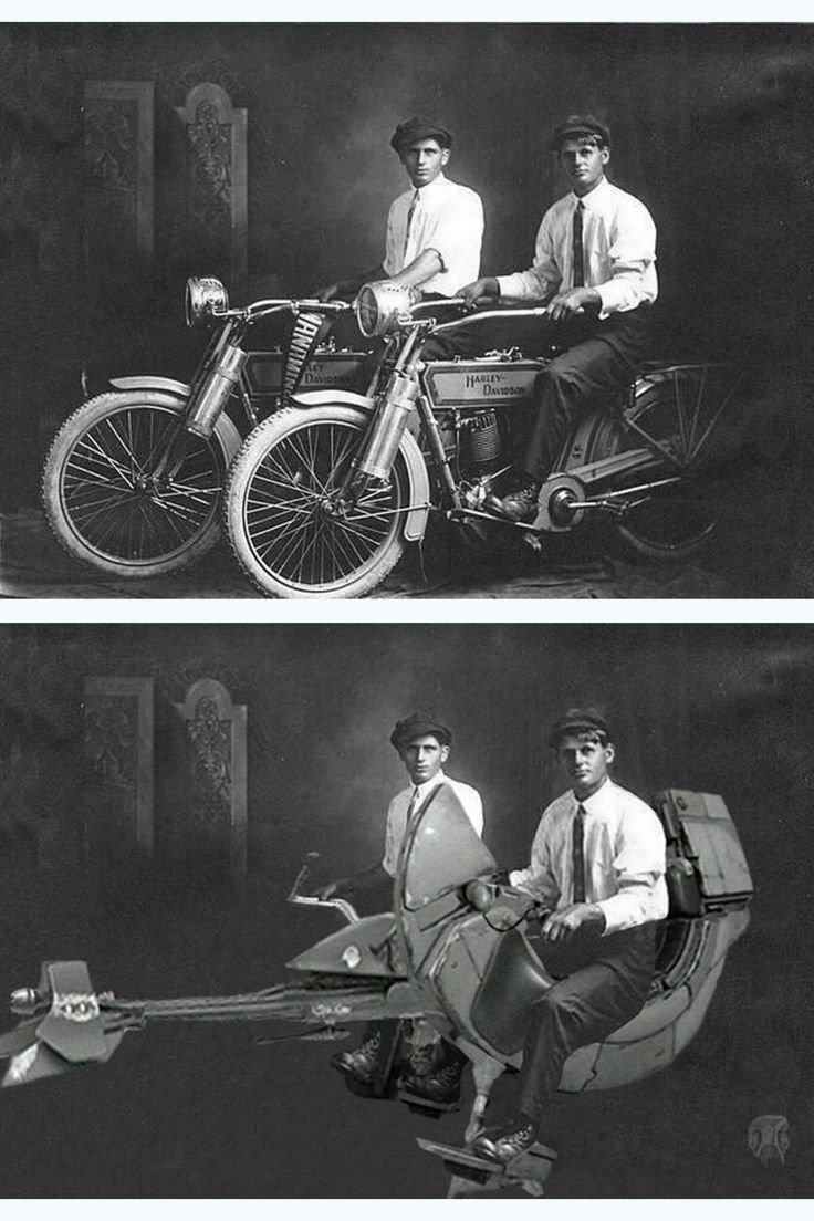 imgur.com Ready to Ride!! - Imgur William Harley and Arthur Davidson-1914. On top a 74-Z speeder bike and a FC-20 (Darth Maul) speeder bike.