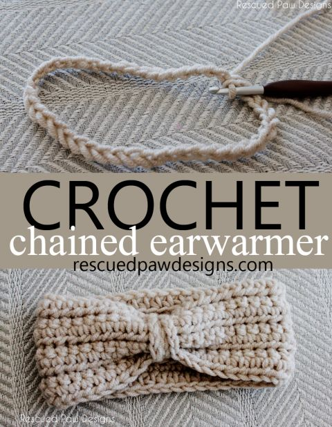 Crochet Chained Ear Warmer Pattern :: Rescued Paw Designs Azul Marino
