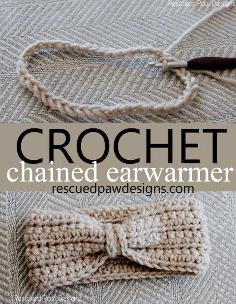 Crochê acorrentado de orelha Laço, aquecedor padrão -  /    Ear chained crochet lace, standard heater -