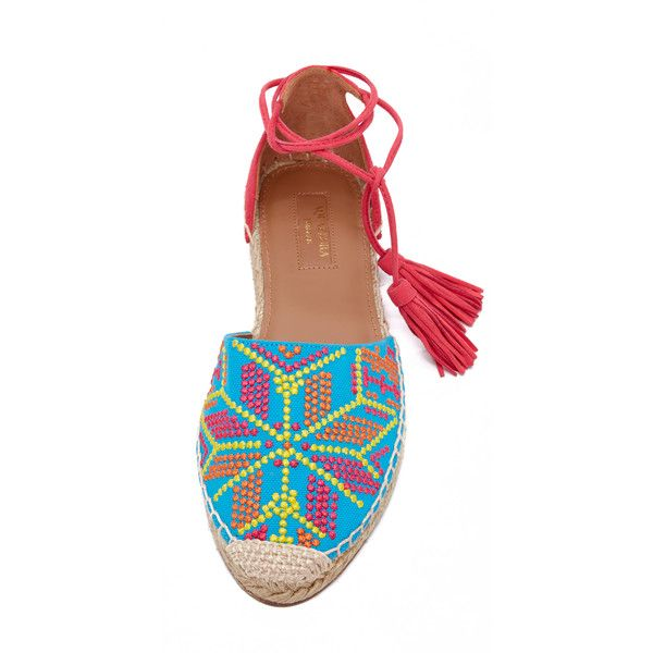 An embroidered vamp and vibrant suede update these casual Aquazzura espadrilles. Tassels accent the lace-up ties. Braided jute sidewall. Leather sole. Fabric: …