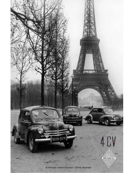 Renault 4 CV - Tour Eiffel : Plaque décorative rétro en métal représentant la Renault 4CV devant la Tour Eiffel. Idéal pour créer une décoration vintage dans un garage, un atelier ou même dans une concession automobile.