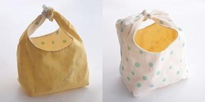 "Reversible fabric ""basket"" with Japanese Sashiko embroidery via Fancy Tiger Crafts blog"
