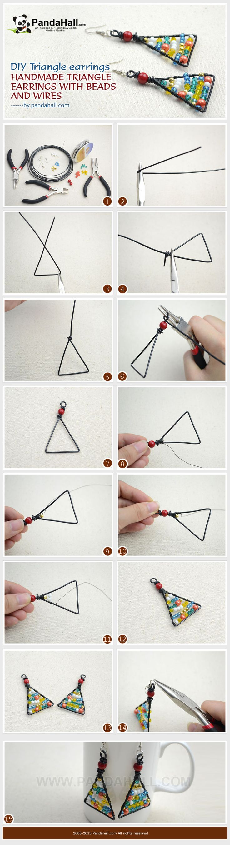 handmade jewelry, triangle earrings, making triangle earrings, DIY triangle earrings