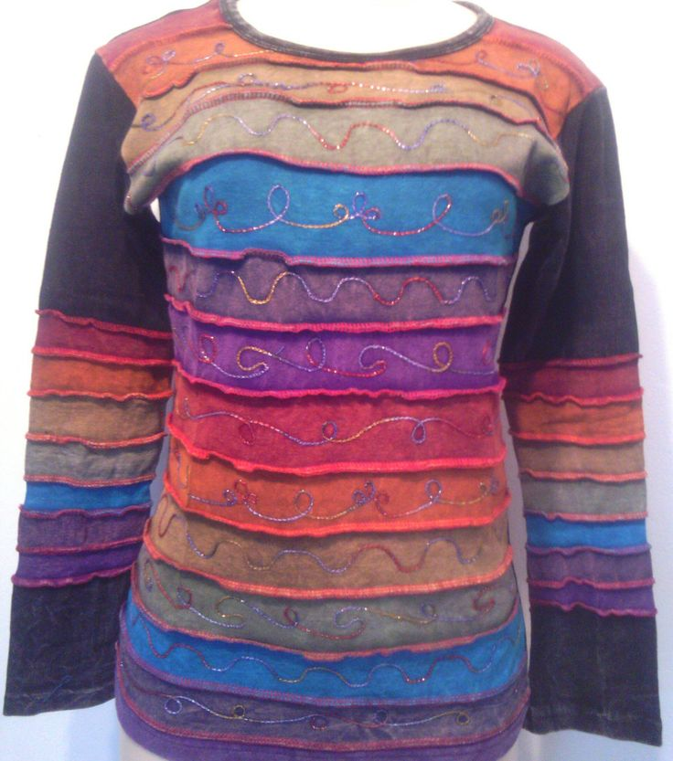 Rainbow TOP, HIPPIE Embroidered Top  Long sleeve by HippieshopAfrica on Etsy