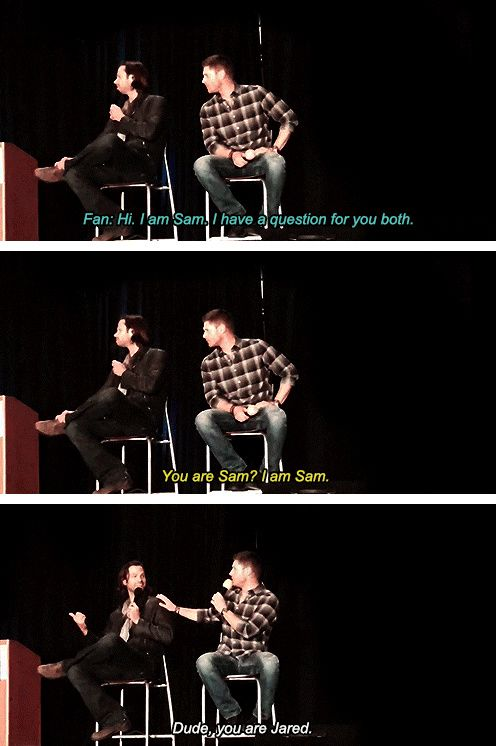 [gifset] Jensen and Jared panel at PhxCon15. Link to video: https://www.youtube.com/watch?v=fJvNSQXGWaA&t=16m31s