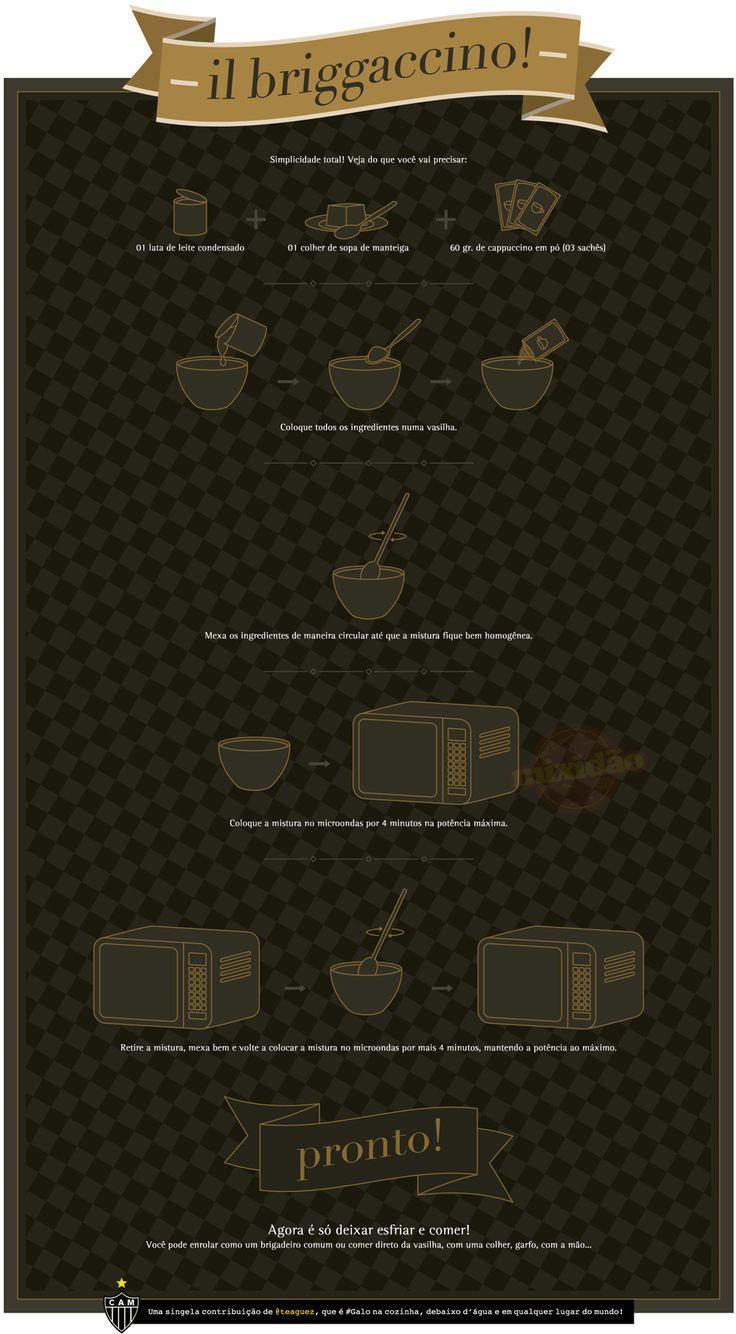 O infográfico receita de hoje é de Briggaccino, é um brigadeiro de cappuccino.