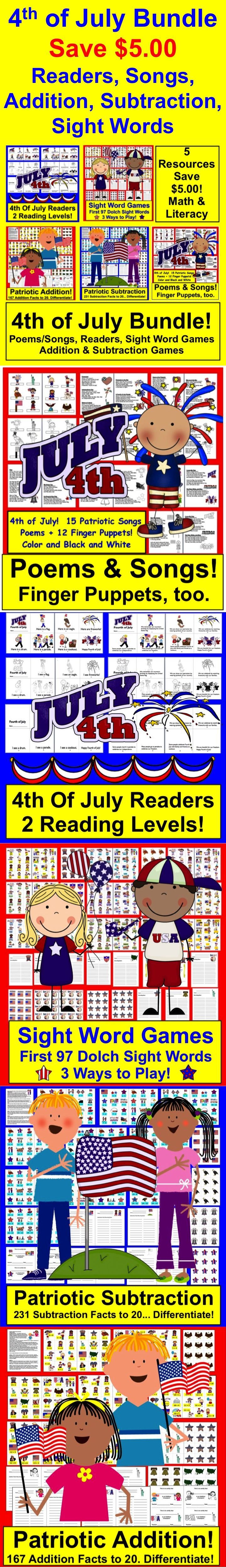 $ Fourth of July  BUNDLE VALUE! 5 Centers for the Fourth of July... Save $5.00!  ★ Save over $5.00 when you buy this Fourth of July Independence Day bundle!   ★ Five Literacy and Math Centers for the Fourth of July Independence Day!   ★ 170+ Pages Download in this Fourth of July Independence Day Bundle