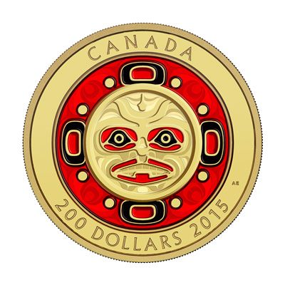 """The Singing Moon Mask gold coin is .99999 pure and  struck in ultra-high relief. The coin is proof finished, with the red and black colour enamel painstakingly applied by hand. West coast First Nations culture have always refered to the moon as """"Grandmother Moon"""" in affirmation of the nourishing role women play in their society.  The intimate connection felt between the First Nations and the moon's symbolism was captured by ceremonial masks carved in wood."""