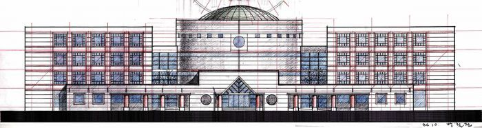 elevation drawing for the central library - shillla university/Bang Chulrin/방철린