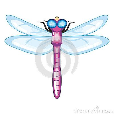 Cute Purple Dragonfly with Blue Wings Cartoon Illustration