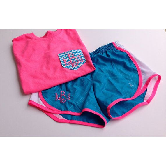 Monogrammed Chevron Pocket Tee and Running Shorts- ($25)
