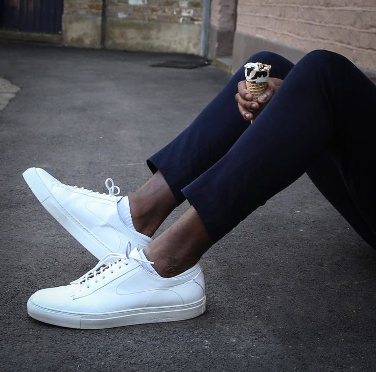 Go classic, go with white trainers