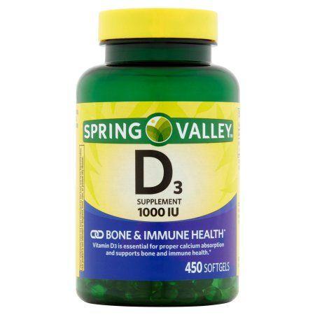 Spring Valley Vitamin D3 Softgels 1000 Iu 450 Count Walmart Com Prenatal Health Vitamins Dietary