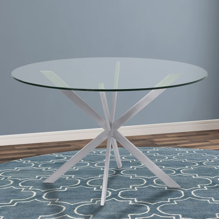 Armen Living Mystere Brushed Stainless Steel Clear Tempered Round Dining Table