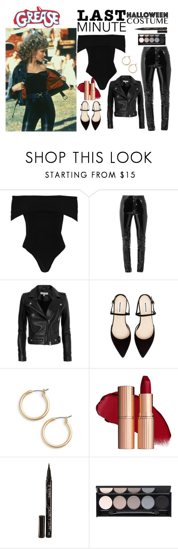 """grease costume"" by deboraaguirregoncalves ❤ liked on Polyvore featuring Boohoo, Anthony Vaccarello, IRO, Nordstrom, Smith & Cult, Witchery, Halloween, Grease, halloweencostume and Halloweenparty"