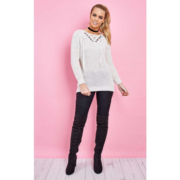 Love Cream v Neck Lace Up Jumper (38 PAB) ❤ liked on Polyvore featuring tops, sweaters, lace up sweater, cream jumper, lace front top, v neck jumper and pink v neck sweater