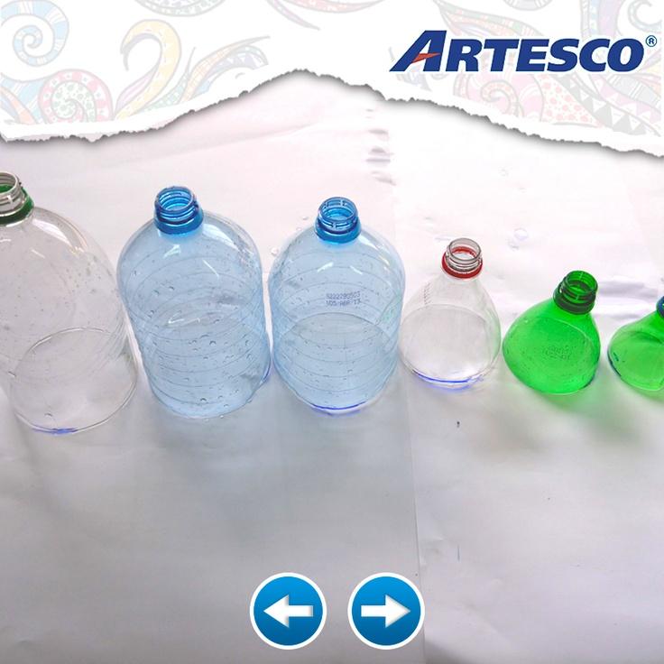 Marca las botellas y córtalas.