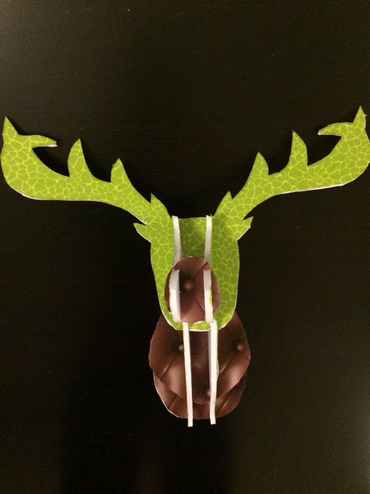 Trophée tête de cerf vert/marron