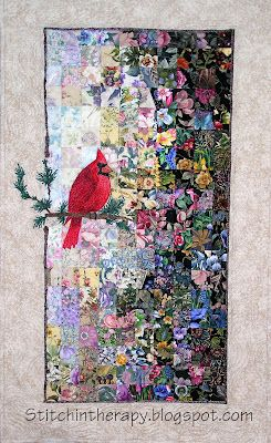 Watercolor Quilt, cardinal. I love this! I see cardinals only when it snows.