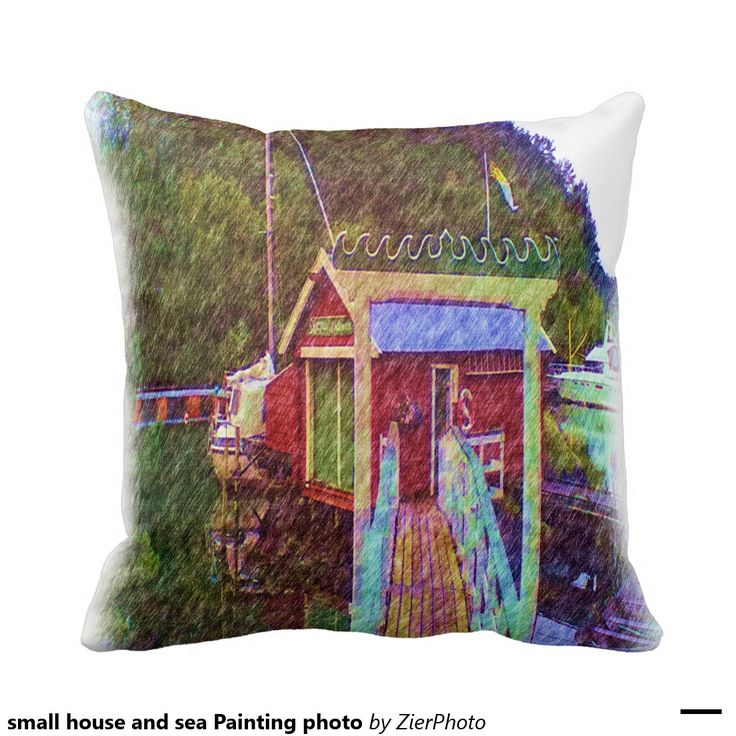 small house and sea Painting photo Throw Pillows