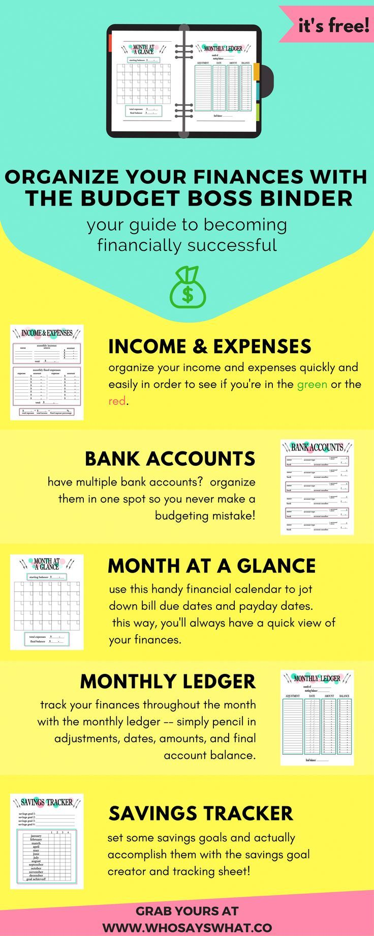 Budget Binder | Budget Organization | How To Budget | Budget Tips | Budget Success | Budget Printables | Budget Worksheets | Free Printables | Personal Finance | Budget For Beginners | Budget Tracking
