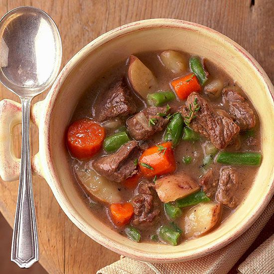 Hearty Vegetable-Beef Stew - Down a big dose of veggies in this mouthwatering beef stew. To make this hearty soup healthier, we've used reduced-fat cream of mushroom soup and low-sodium beef broth.  Makes: 6 servings   Prep 30 mins   Slow Cook 8 hrs to 9 hrs (low) or 4 to 4 1/2 hours (high) + 30 minutes (high)