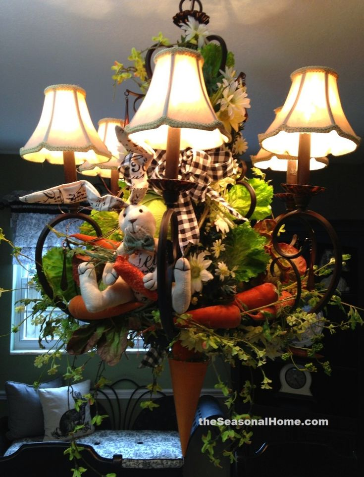 Bunny Garden (themed) Chandelier from www.theSeasonalHome.com... perfect for an Easter Brunch or Dinner