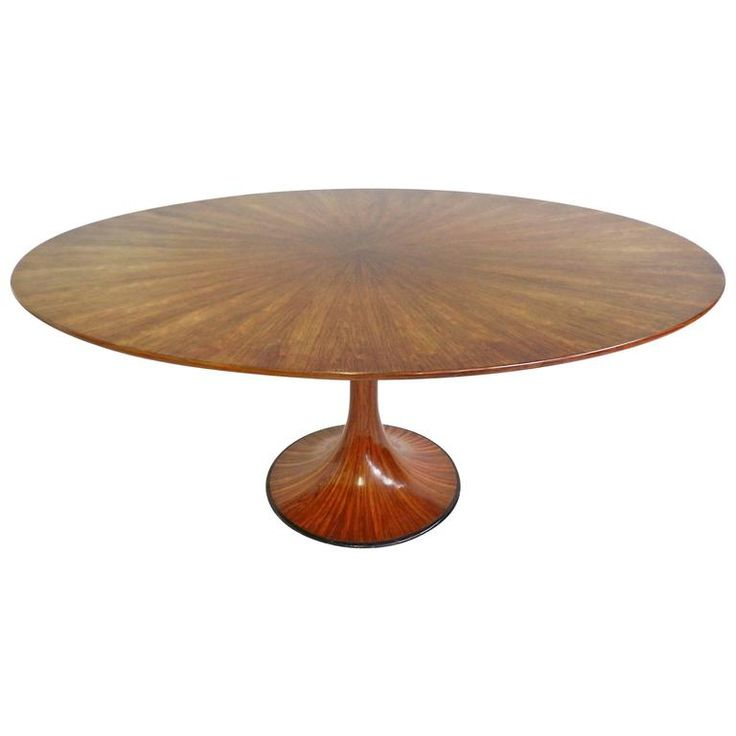 Rare And Stunning Oval Pedestal Table In Rosewood By Luigi Massoni