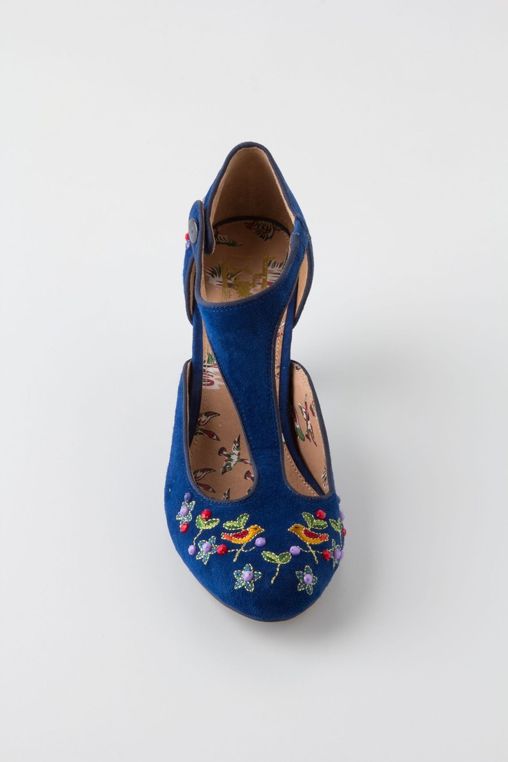 Songbird Embroidered T-Straps - Anthropologie - again, not crazy about blue, but these would be ok.