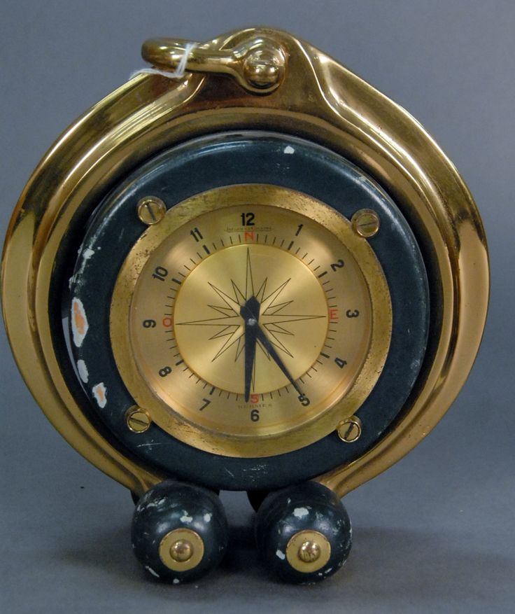 Hermes Jaeger Le Coultre ship's style clock (not in working condition - minor chips on outside), ht. 8 1/2in. - Realized Price: $1,416.00