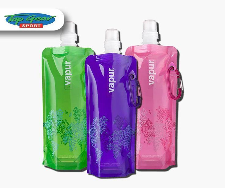 With a side clip, traditional sport cap and reinforcing grommet, this foldable reusable #Vapur water bottle will make you rethink the way you drink. Get yours from #TopGearSport.