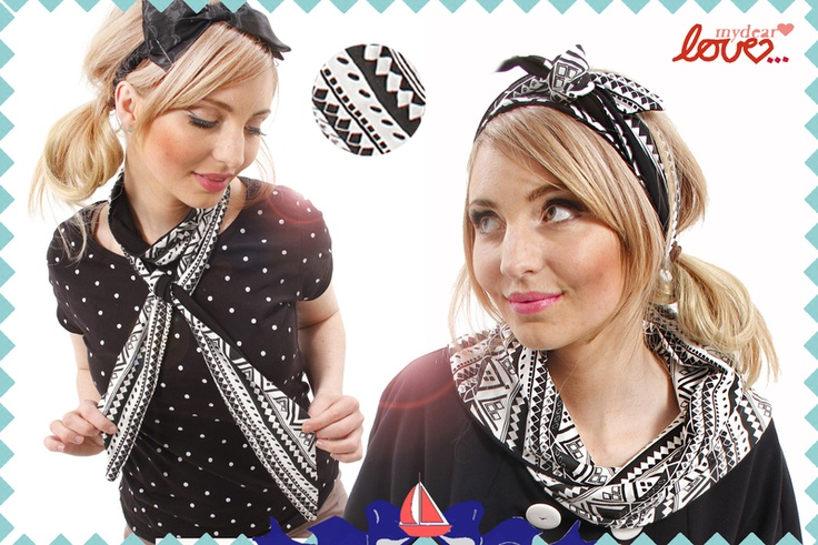 "Headband/Schaltuch Wende""Poppy"" Ethno Schwarz Weiß, headband and scarve all in one, black and white aztec print"