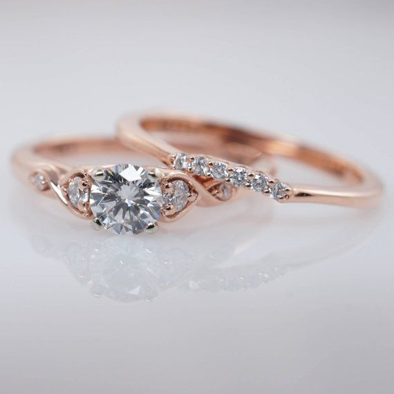 Vintage Antique Style Diamond Engagement Ring & Wedding Band Set Vintage Style R…
