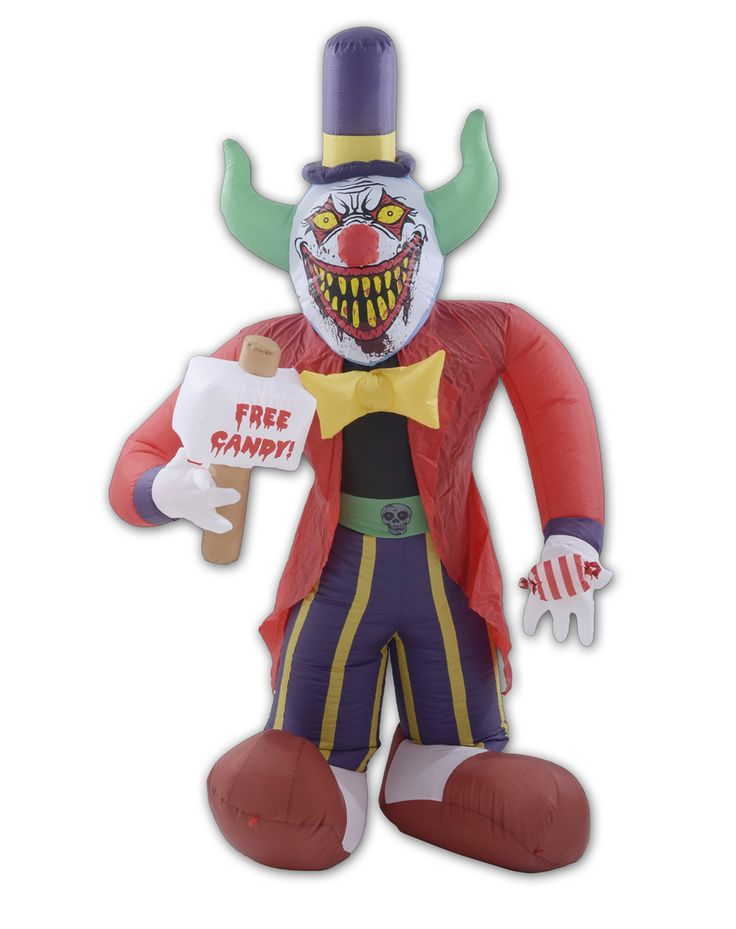 8 ft free candy killer clown halloween airblown inflatable new red - Spirit Halloween Decorations