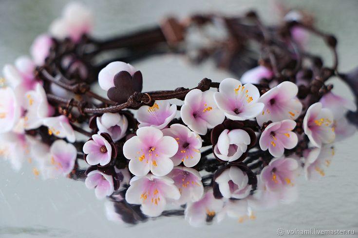 """Купить """"Весна"""" браслет - цветы, сакура, весна, браслет, подарок, розовый, полимерная глина"""