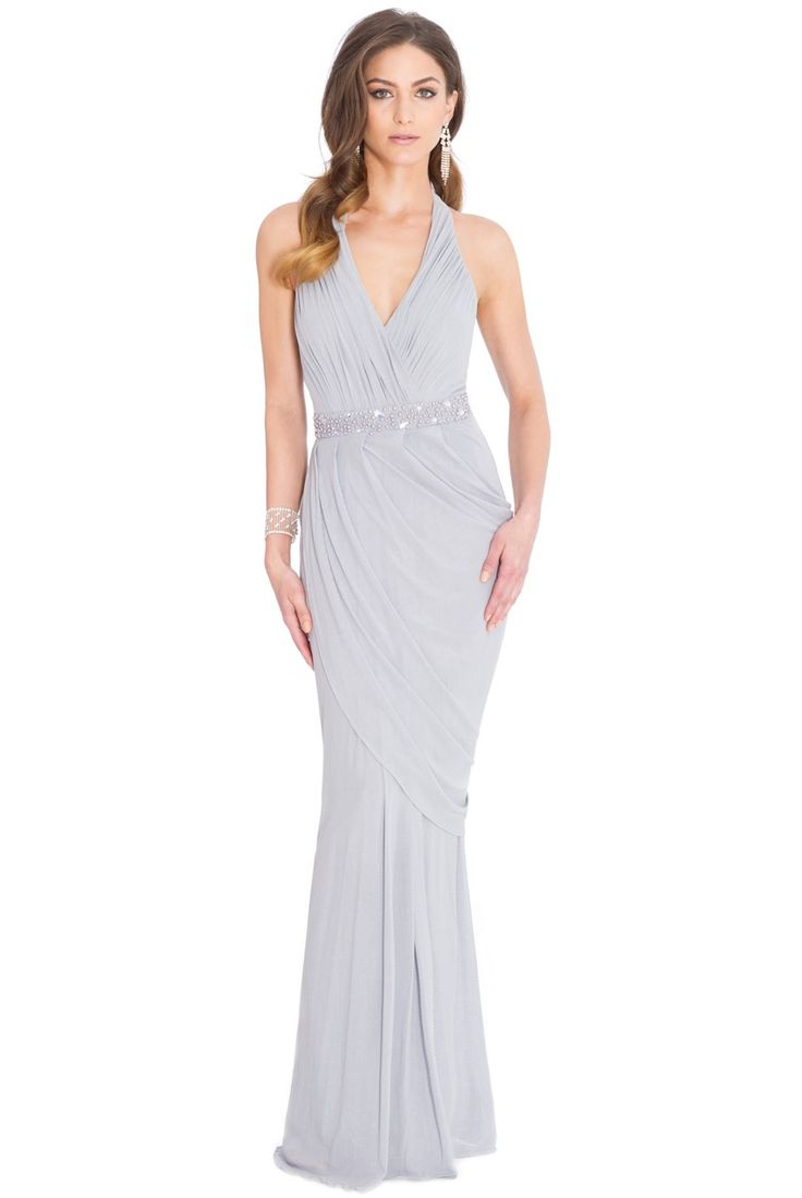 Nice Mermaid Hem Halter Maxi Dress Grey Front maybe for registry office Find this Pin and more on Silver wedding Anniversary